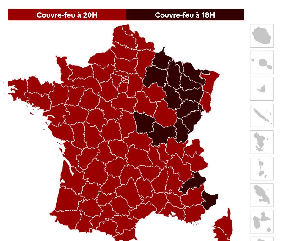 Le couvre feu avancé à 18h dans 15 départements
