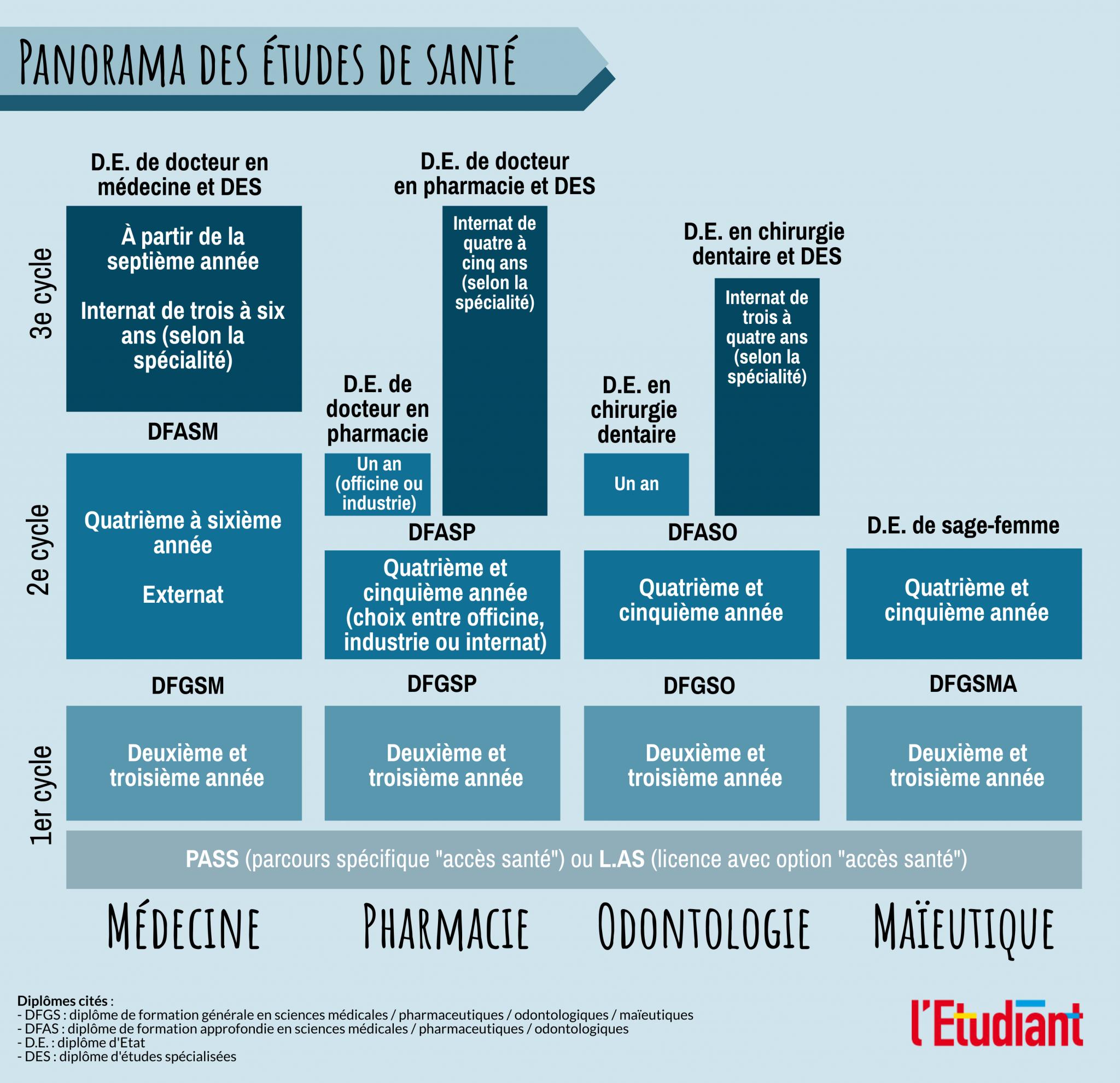 Le panorama des études de santé (médecine, pharmacie, odontologie, maïeutique).